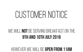 Customer Notice Breakfast