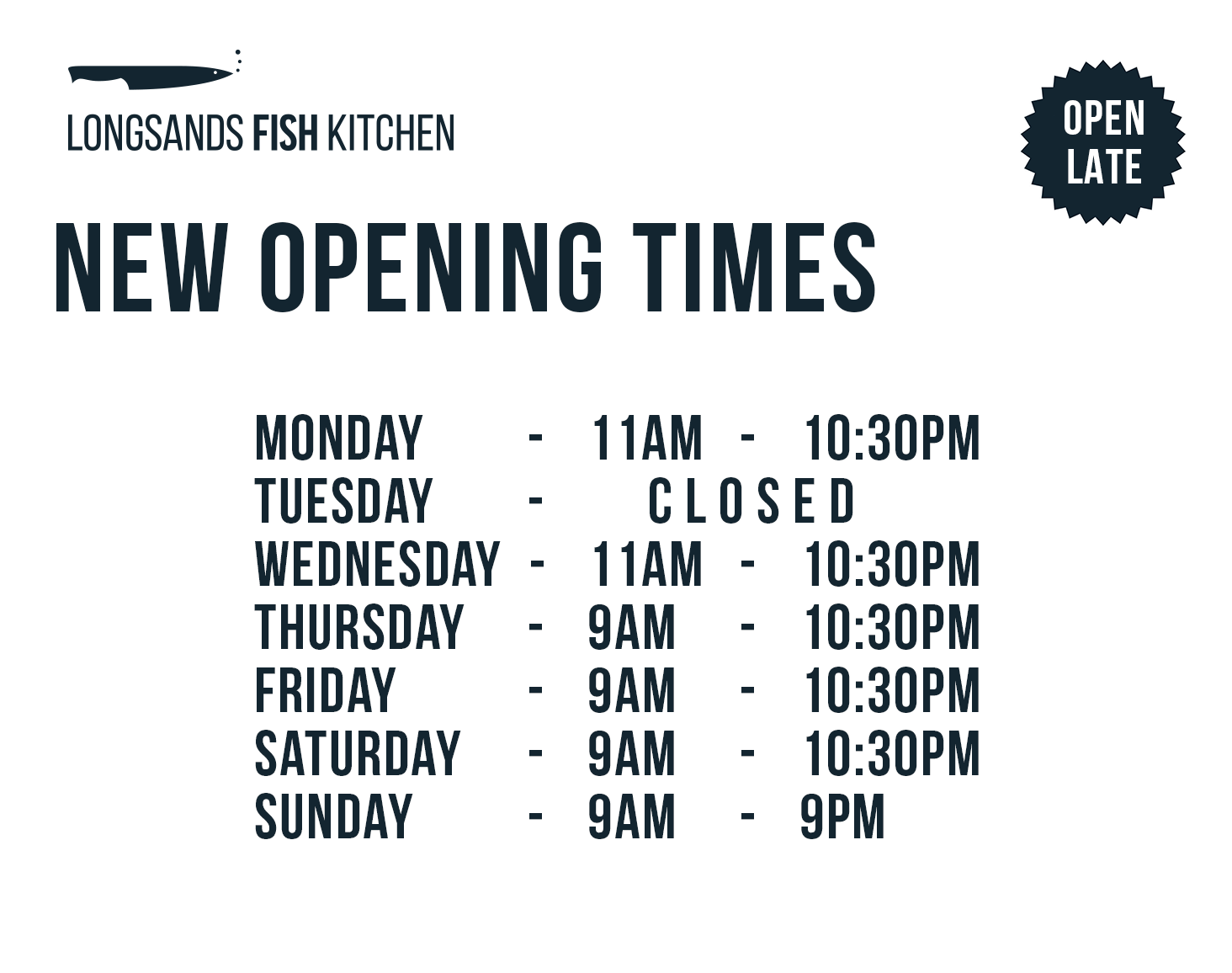 Longsands Fish Kitchen Opening Hours